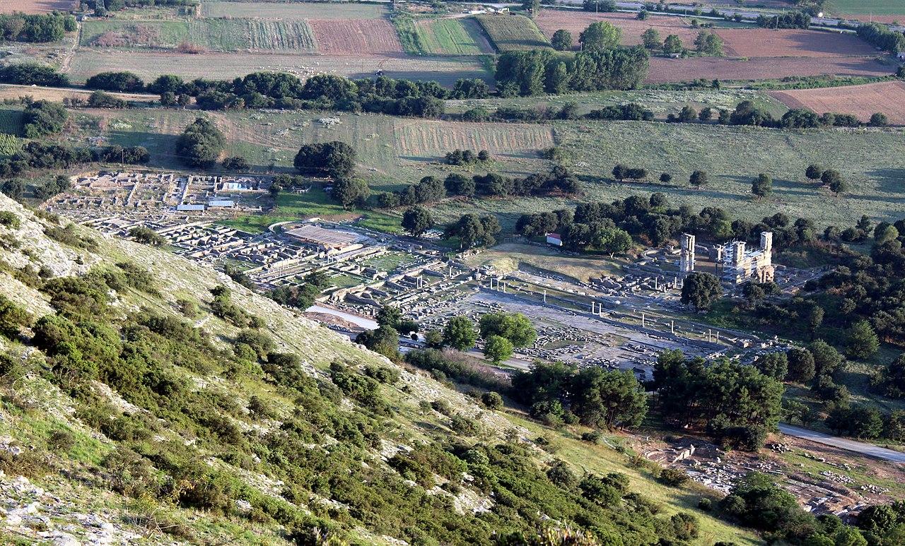 Vue sur le site de Philippes, ville antique