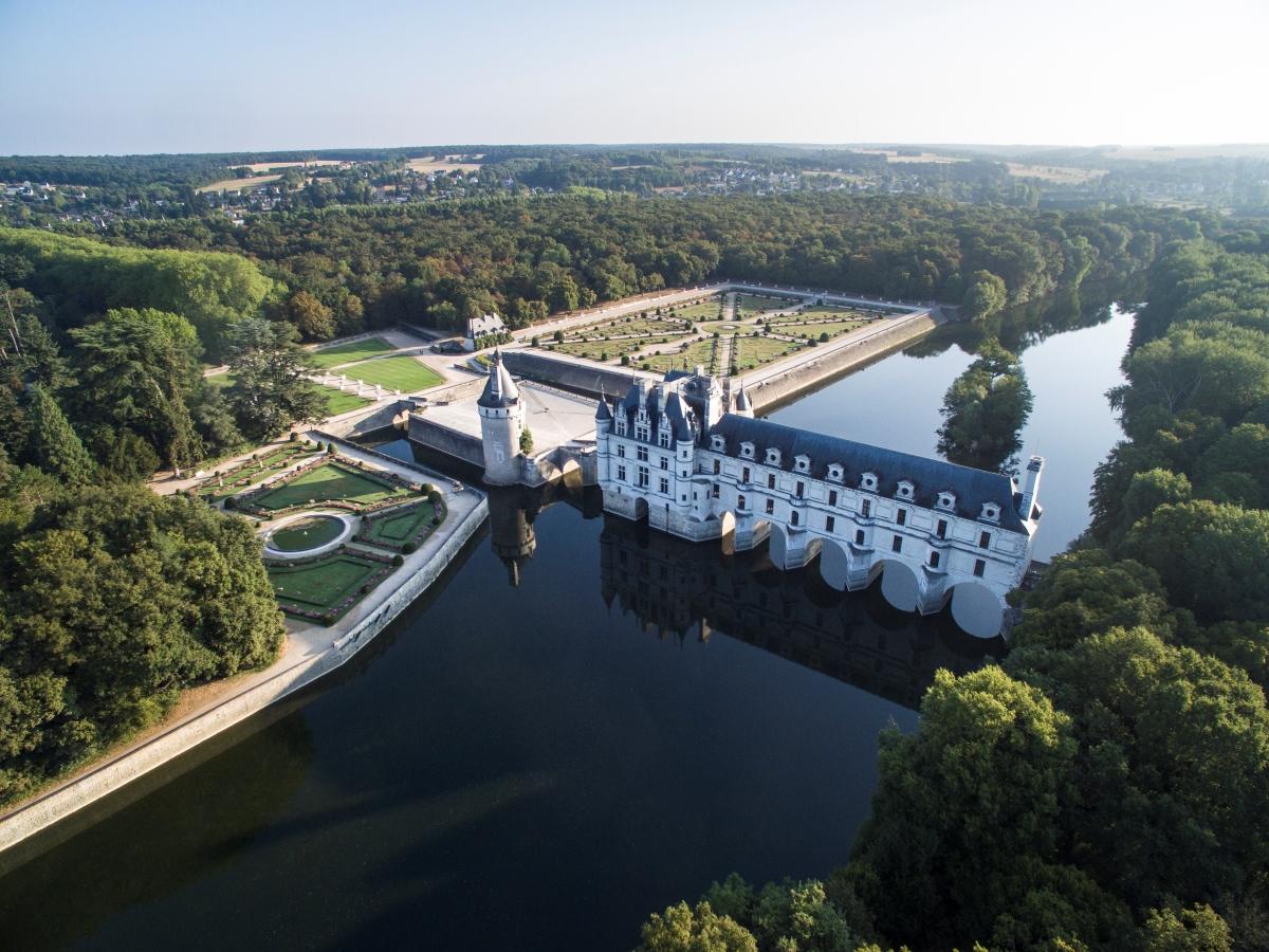 Vue aérienne du château de Chenonceau
